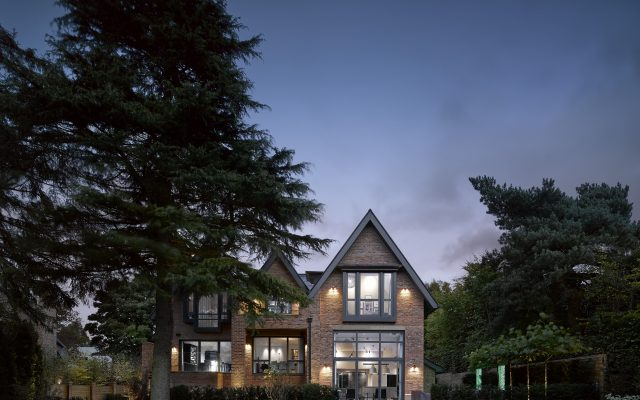 grand design, cheshire, wilmslow, luxury, dusk, brickwork, pitched roof