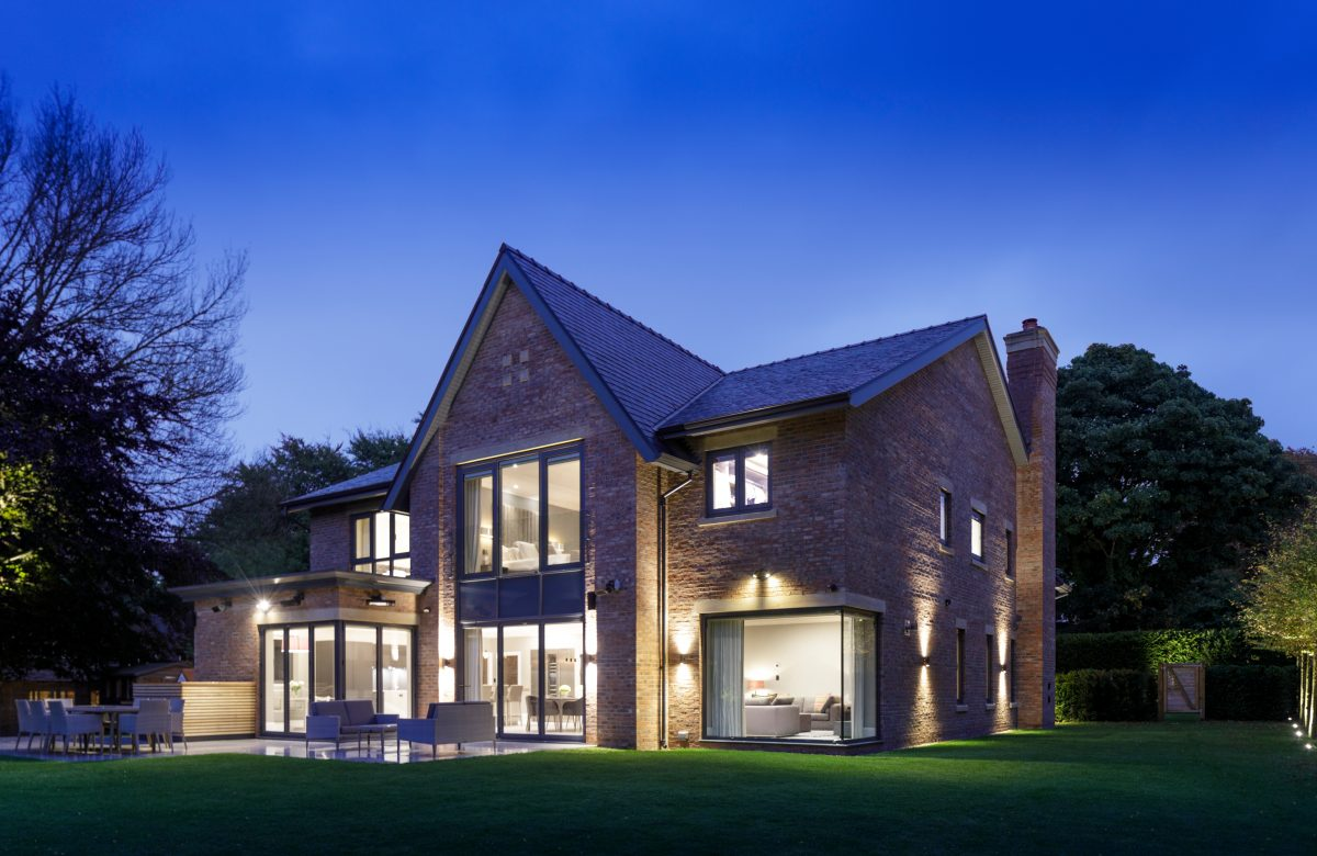 grand design, cheshire, wilmslow, luxury, dusk, brickwork, pitched roof, dream home